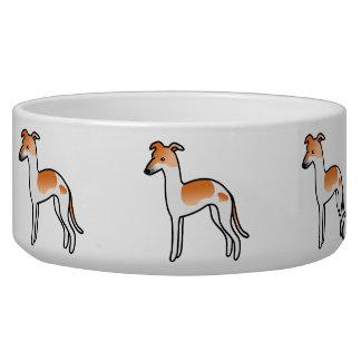 Red Pied Italian Greyhound Cartoon Dog Bowl