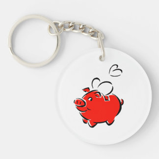 Red piggie hearts fly love design Double-Sided round acrylic keychain