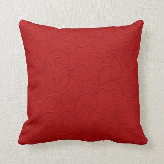 Red Pillow w/Textured-look Swirls