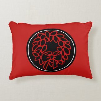 Red Pillow with Red Holiday Wreath Monogram