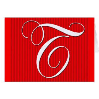 Red Pin Stripe Monogram Notecard- Initial T Card