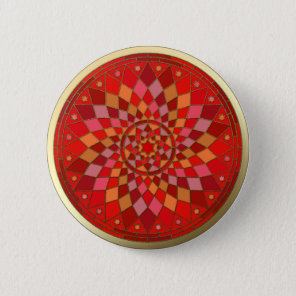 Red Pinata Mandala Gold Trim Button