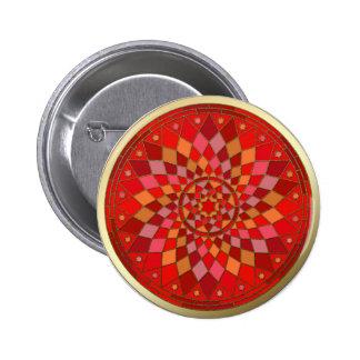 Red Pinata Mandala Gold Trim Pinback Button