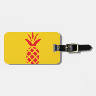Red Pine Apple in Yellow. Bag Tag