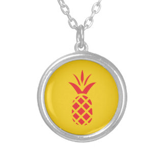 Red Pine Apple in Yellow. Silver Plated Necklace