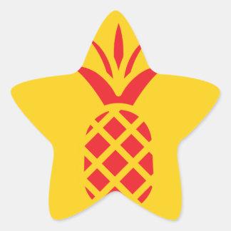 Red Pine Apple in Yellow. Star Sticker