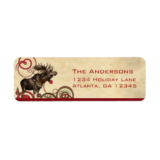 Red Pine Moose Trees Return Address Label