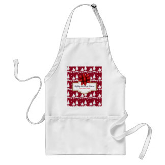 Red Pine Trees Holly and Snow Adult Apron