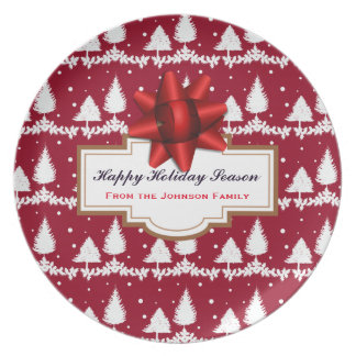 Red Pine Trees Holly and Snow Plate