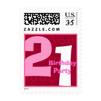 Red Pink 21st Birthday Party Big Numbers V002A Postage