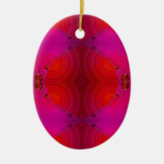 red pink abstract art ceramic ornament