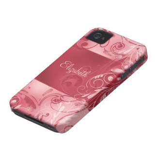 Red Pink Abstract Floral Custom Name iPhone 4 Case