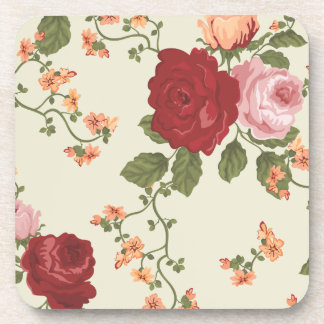 Red Pink and Apricot Rose Vines Coaster