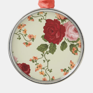 Red Pink and Apricot Rose Vines Metal Ornament
