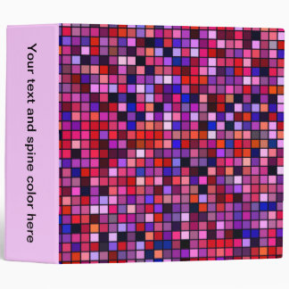 Red, Pink And Blue 'Berries' Squares Pattern Binder