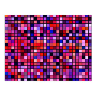 Red, Pink And Blue 'Berries' Squares Pattern Postcard