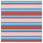 [ Thumbnail: Red, Pink, and Deep Sky Blue Lines Pattern Fabric ]