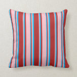 [ Thumbnail: Red, Pink, and Deep Sky Blue Lines Pattern Pillow ]