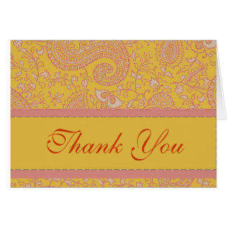 Red pink and gold paisley thank you card