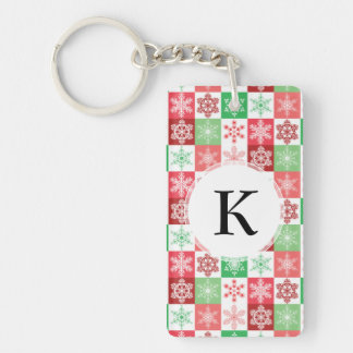 Red Pink and Green Christmas Holiday Snowflakes Keychain