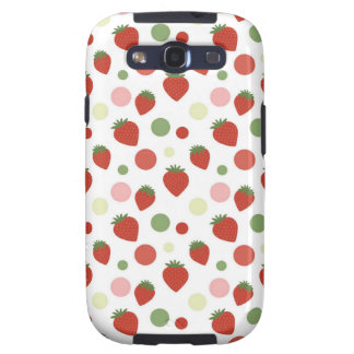 Red Pink and Green Strawberries Polka Dots Galaxy S3 Case