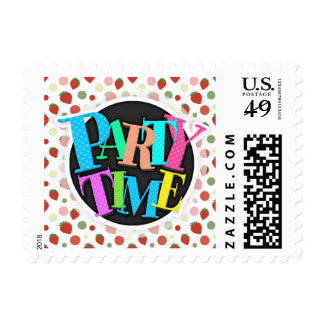 Red Pink and Green Strawberries & Polka Dots Postage Stamp