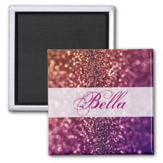 Red Pink and Purple Sparkle Diva Glitter Design 2 Inch Square Magnet