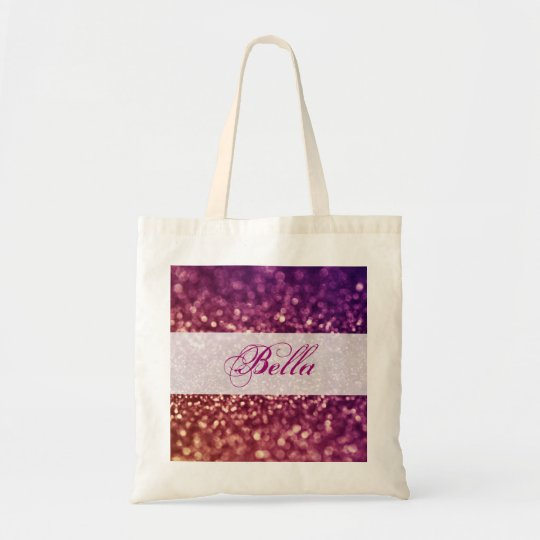 Red Pink and Purple Sparkle Diva Glitter Design Tote Bag