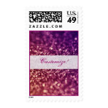 Red Pink and Purple Sparkle Glitter Postage Stamps