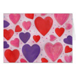 Red Pink and Purple Valentine's Day Hearts Design Greeting Card