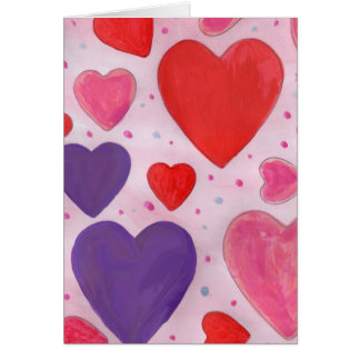 Red Pink and Purple Valentine's Day Hearts Design Card