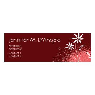Red, Pink and White Flowers Business Card Template