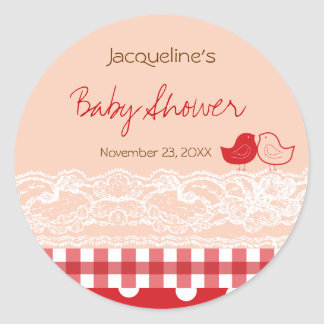 Red & Pink Birds Lace Baby Shower Favors Label / Classic Round Sticker
