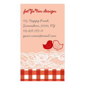 Red & Pink Birds Scrapbook Lace Profile Card Double-Sided Standard Business Cards (Pack Of 100)