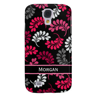 Red Pink Black Floral Monogram Samsung S4 Case
