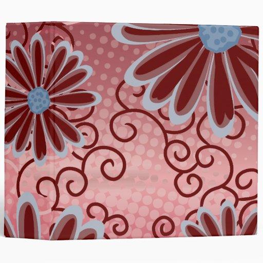 Red Pink Blue Floral Tribal Daisy Tattoo Pattern Vinyl Binders