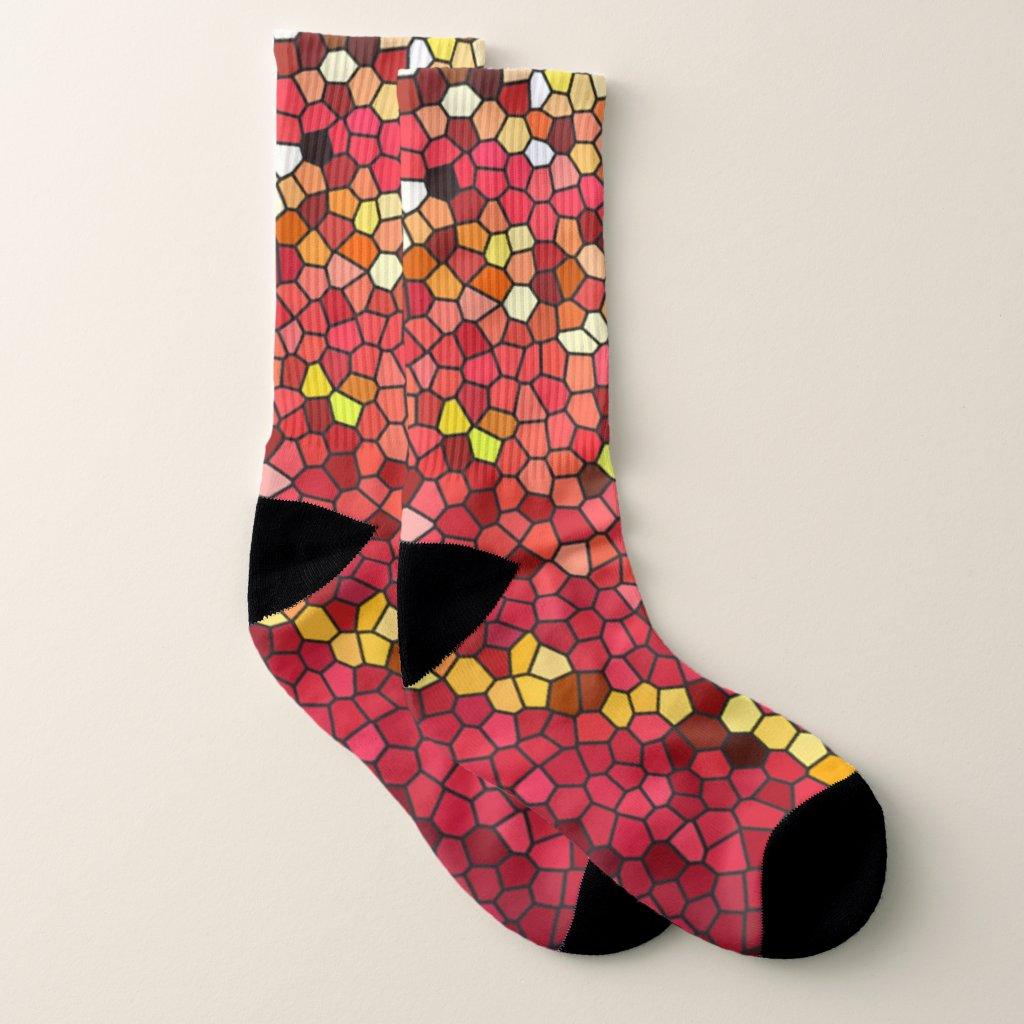 Red Pink Brown Yellow Mosaic Tile Pattern Socks
