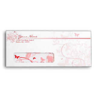 Red Pink Butterfly 10 Envelopes with Windows