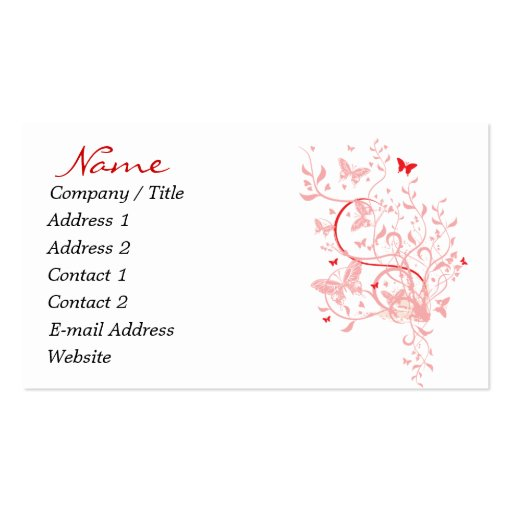 Red pink butterfly business cards zazzle for Butterfly business cards