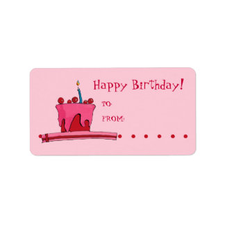 Red & Pink Cake Gift Tag Label