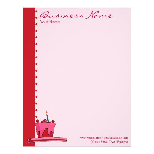 Red & Pink Cake Letterhead