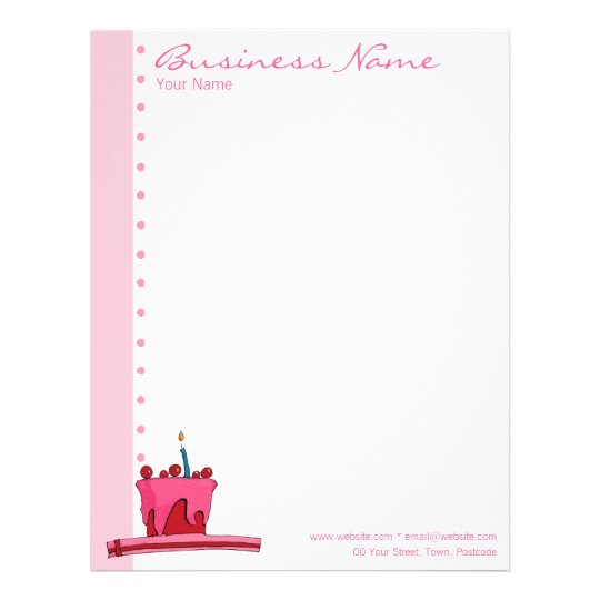 Red & Pink Cake pink Letterhead