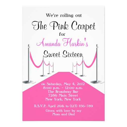 Red/Pink Carpet Hollywood Sweet 16 Invite