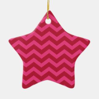 Red & Pink Chevron Stripe Ceramic Ornament