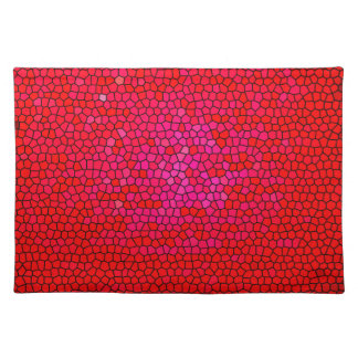 Red/pink color stained glass pattern shape cloth placemat