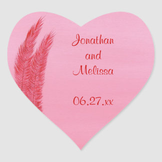 Red Pink Feathers Heart Save the date stickers