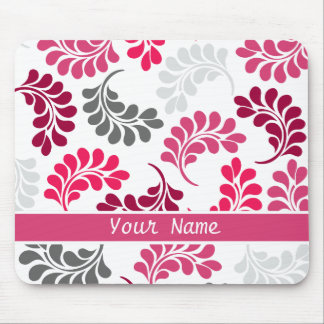 Red Pink Floral Monogram Pattern Mouse Pad