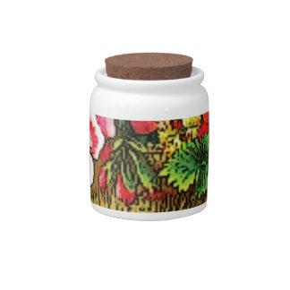 red pink flower basket candy jar