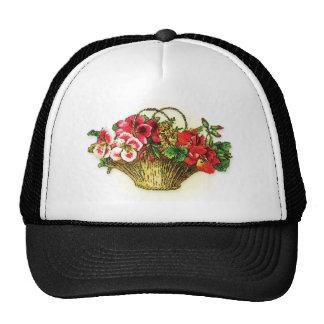 red pink flower basket trucker hat