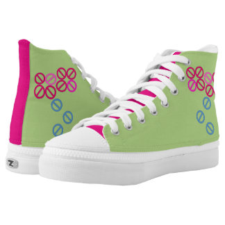 Red Pink Flower Floral Blossom High Top Shoes